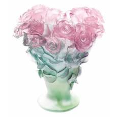 "Ваза для цветов ""Roses"" зелёно-розовая Daum 03547"