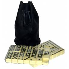 Домино профессиональное D9 в черном мешочке из телячьей кожи  RTL-055