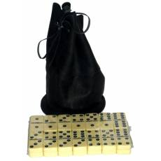 Домино профессиональное D6 в черном мешочке из телячьей кожи  RTL-05