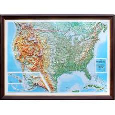 """Рельефная карта с панорамным эффектом """"США"""" Авторские работы TSP001"""