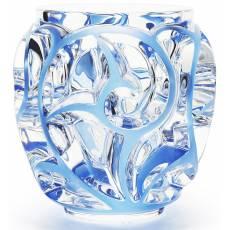 """Ваза для цветов прозрачная с голубой патиной (малая) """"Tourbillons"""" Lalique 10442100"""