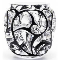 """Ваза для цветов большая прозрачная с чёрной эмалью """"Tourbillons"""" Lalique 10441200"""