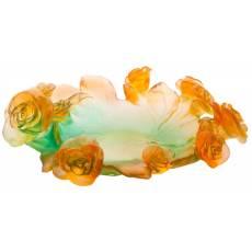 """Ваза для фруктов зелёно-оранжевая """"Rose Passion"""" Daum 05314-1"""