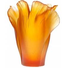 """Ваза для цветов """"Ginkgo"""" янтарная (h=17) Daum 03410-3"""