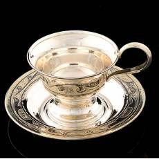 Кофейная пара. Серебро 875, гравировка, чернение RV0048076CG
