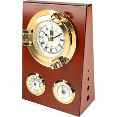 """Часы настенные """"Иллюминатор"""" с термометром и гигрометром Sea Power MS016"""
