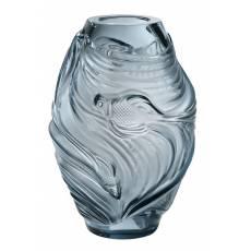 """Ваза для цветов голубая """"Poissons Combattants"""" Lalique 10671800"""