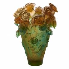 """Ваза для цветов """"Rose Passion Magnum"""" зелено-оранжевый (h=53) Daum (Лимитированная серия 25 экз.) 05376-3"""
