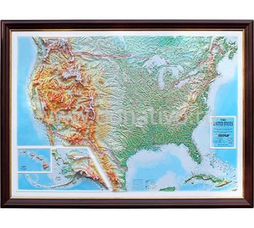 """Рельефная карта с панорамным эффектом """"США"""" Авторские работы TSP002"""