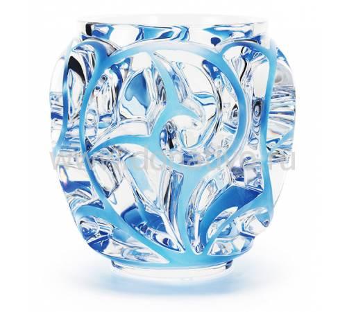 """Ваза для цветов прозрачная с голубой патиной """"Tourbillons"""" Lalique 10441900"""