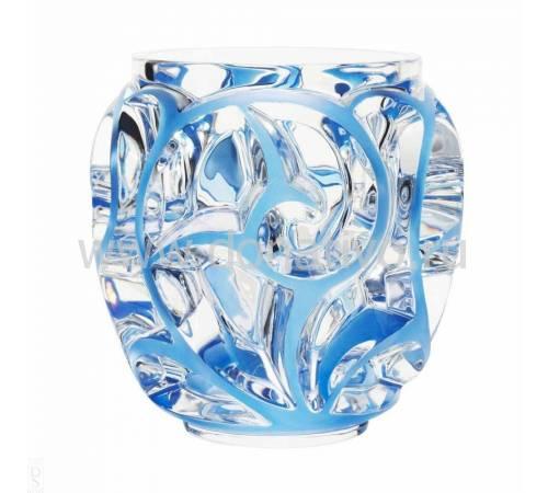 """Ваза для цветов (большая) прозрачная с голубой патиной """"Tourbillons"""" Lalique 10441300"""
