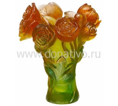 "Ваза для цветов зелёно-оранжевая ""Pivoine"" Daum 05115-2"