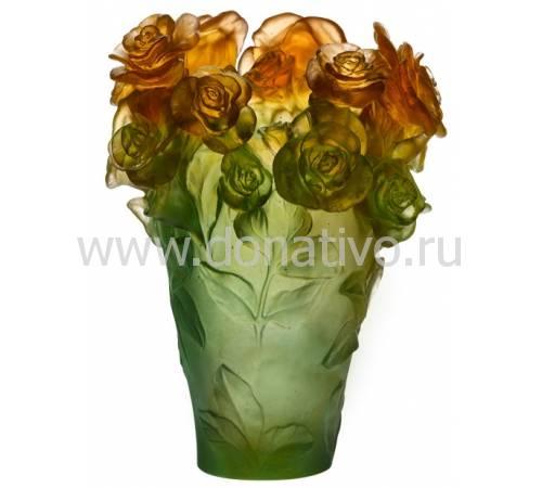 "Ваза для цветов ""Rose Passion"" зелено-оранжевая (h=35) Daum 05282-2"