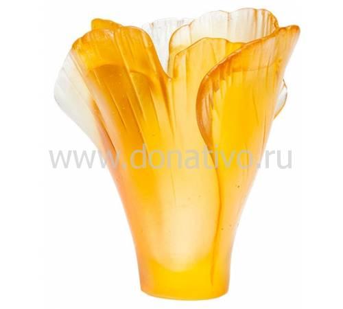 """Ваза для цветов """"Ginkgo"""" янтарная (h=7) Daum 05157-3/C"""