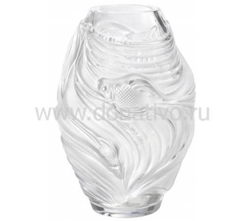 "Ваза для цветов прозрачная ""Poissons Combattants"" Lalique 10671700"