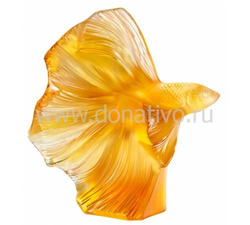 """Статуэтка янтарная """"Бойцовая рыбка"""" Lalique 10685300"""