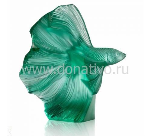 """Статуэтка малая/зелёная """"Боевая рыба"""" Lalique 10672600"""